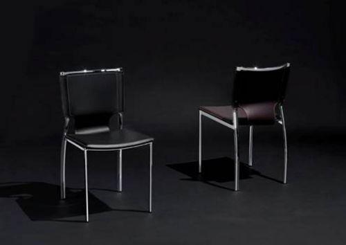 Stuhl Stuhle Lederstuhl Leder Weiss Schwarz Chrom Gestell